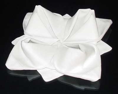 Finished Rose Napkin Fold