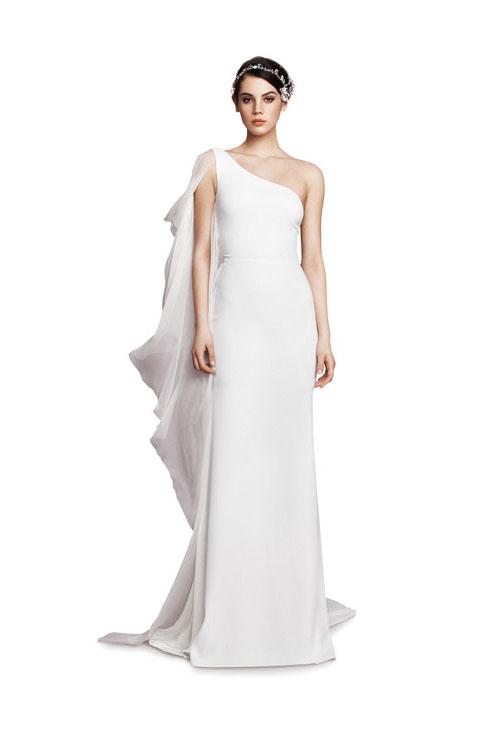 Asymmetrical off-white silk chiffon crepe crepe dress ($ 3,625), Daalarna Couture, Amable Bridal, Miami