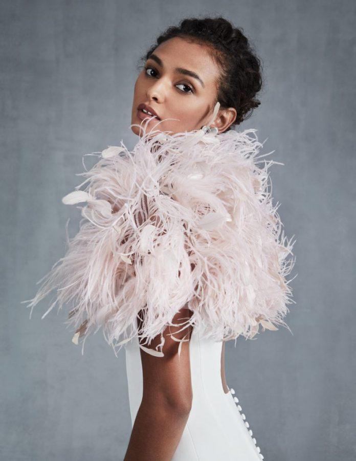 Feather bolero / shrug in pale pink ($ 1,490), Ines di Santo, Chic Parisien, Coral Gables
