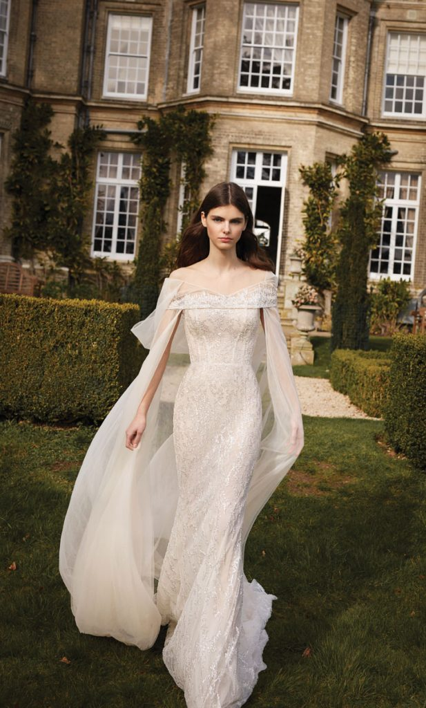 Gala No. 10 Ivory Gown with Beaded Lace and Corset ($ 5,940), silk tulle, and an ornate lace hood ($ 1,320), Galia Lahav, Miami