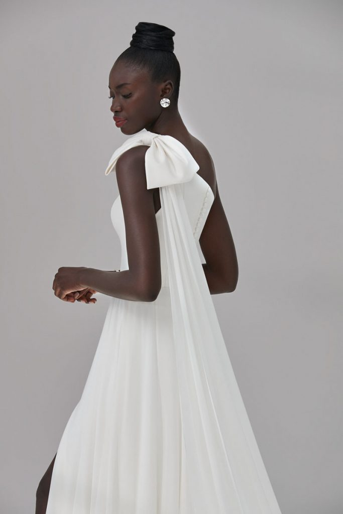 Grammercy Mikado bow-tie gown with detachable chiffon streamer (approx $ 2,158), Justin Alexander Signature, Palm Bridal, Naples