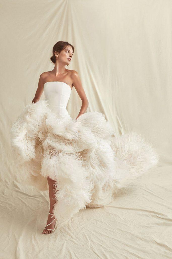 Optical white silk organza dress with ostrich feather trim ($ 19,990), Oscar de la Renta, special order, Marissa Collections, Naples