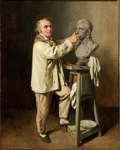 Jean Antoine Houdon Modelant Le Buste De Bonaparte Premier