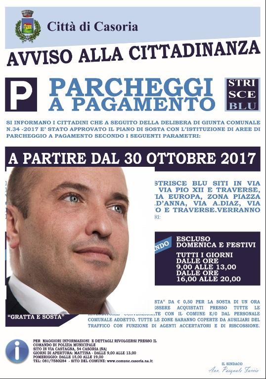 """Casoria - Dal 30 ottobre riparte il servizio delle """"strisce blu"""". Ecco i dettagli"""