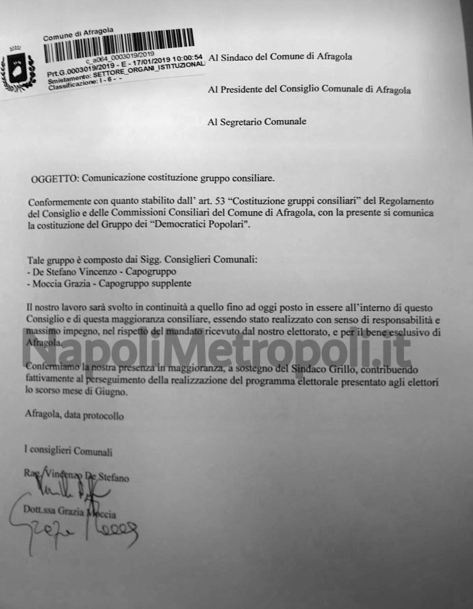 """[ANTEPRIMA] Afragola. I consiglieri De Stefano e Moccia lasciano Afragola Civica e costituiscono """"Democratici Popolari"""""""