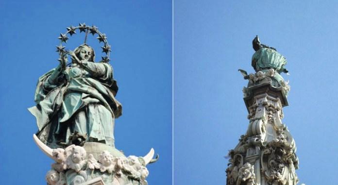 Piazza del Gesù, la statua dell'Immacolata cambia il suo aspetto