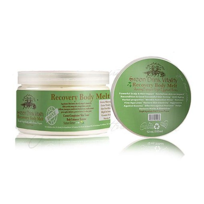 Green Drink Recovery Body Melt/Powerful Head 2 Toe Moisturizer 12oz.