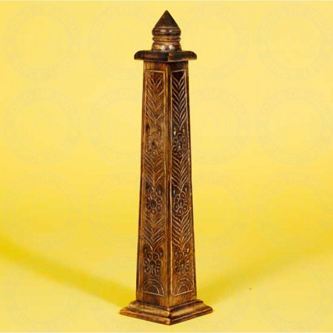 Mango Wood Hand Carved Tower Incense Burner