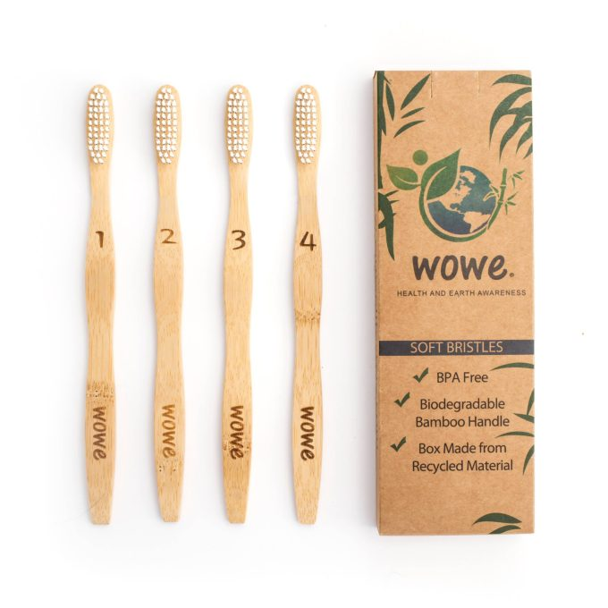 Adult Bamboo Toothbrush – Pack of 4