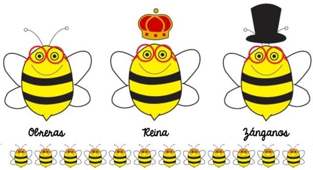 Abeja obrera, abeja reina y zánganos