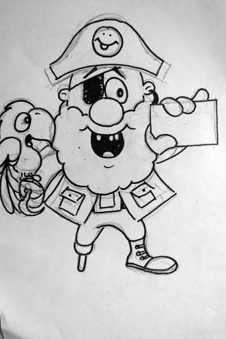 Boceto Pirata El Tesoro Encantado con tarjeta recargable