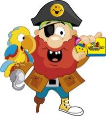 Pirata y guacamayo El Tesoro Encantado con tarjeta recargable