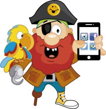 Pirata y guacamayo El Tesoro Encantado con smartphone
