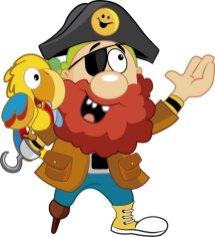 Pirata y guacamayo El Tesoro Encantado enseñando