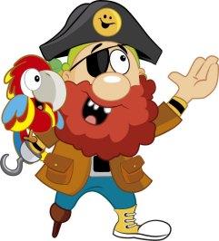 Pirata El Tesoro Encantado y guacamayo presentando