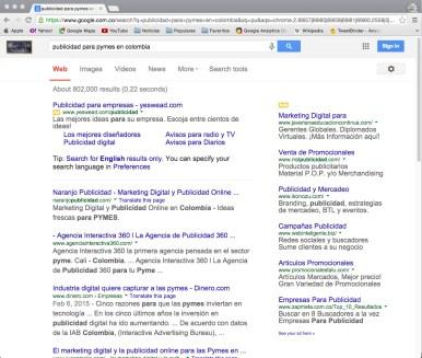 Pantalla 1 resultados Google