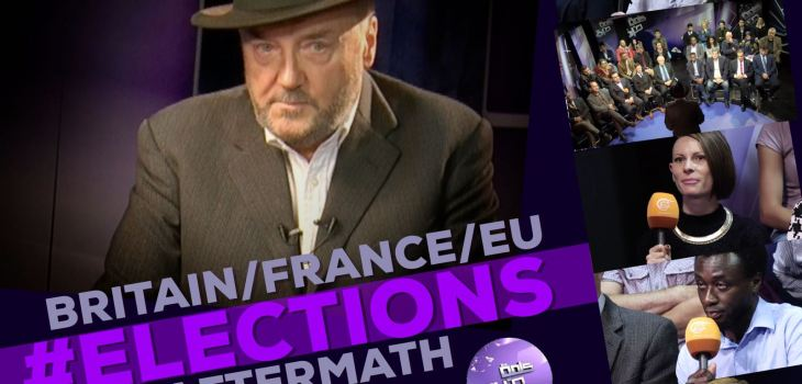 Flyer 2 diagonal Kalima Horra UK-French elections Almayadeen George Galloway Narcissi