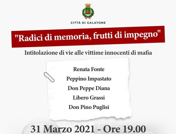 """""""RADICI DI MEMORIA, FRUTTI DI IMPEGNO"""" – A GALATONE INTITOLAZIONE DI VIE ALLE VITTIME INNOCENTI DI MAFIA"""