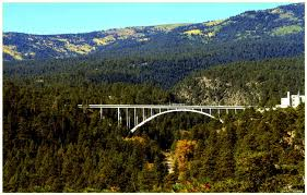 Omega Bridge spans the canyon that separates the laboratory site from the town site.