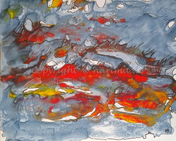 029 - Titel: Aufruhr - 2019/08 - Original: Acryl auf Papier - ca. 40 x 50 cm