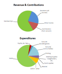 pie charts showing 2021's income and outgo