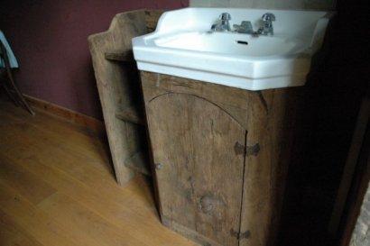 Meuble De Salle De Bain Pour Vasque En Chene Ancien Brosse