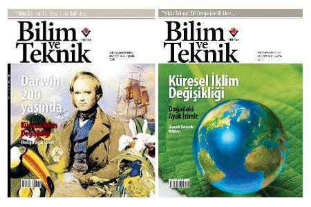 TÜBİTAK Soldaki Darwin kapağını sakıncalı bulmuş ve kapak sağdaki dosya konusu ile değiştirilmişti.
