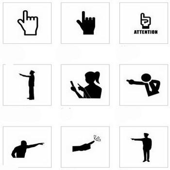 指さし|シルエット イラストの無料ダウンロードサイト「シルエットAC」