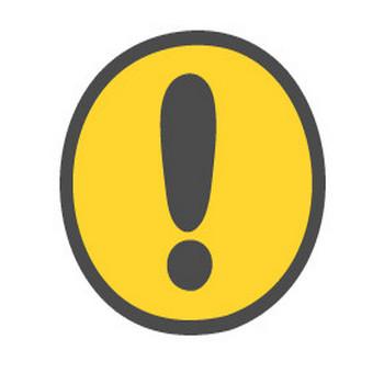 注意・ビックリマークの標識のかわいい手書き風イラストアイコン(円形・丸型) | 可愛い絵文字アイコンイラスト『落書きアイコン』