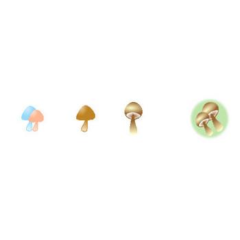 秋のアイコンとイラスト-柿・葡萄・林檎・かかし・桔梗・お月見・赤とんぼ・栗・ドングリ・紅葉・いちょう・きのこ