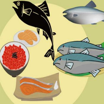鮭イラスト - シャケの切り身といくらの無料イラスト - チコデザ