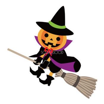 ハロウィン ほうきに乗るかぼちゃ魔女 | 素材Good