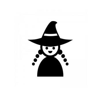 ハロウィン・かわいい魔女のシルエット | 無料のAi・PNG白黒シルエットイラスト