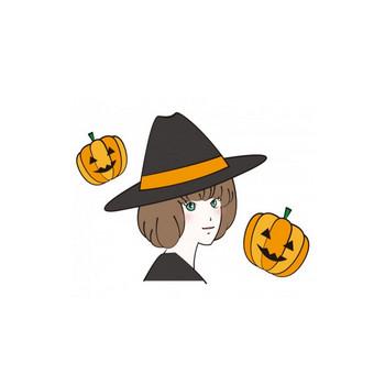 魔女の帽子を被った女性とかぼちゃのハロウィンイラスト | イラスト無料・かわいいテンプレート