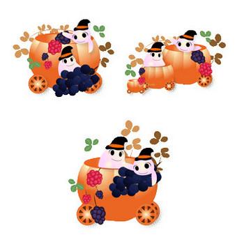 花通信イラスト素材|ハロウィン/かぼちゃの馬車