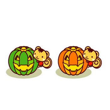 ハロウィンの無料イラスト:かわいい動物(ハロウィンのかぼちゃとリス)|フリー素材|素材のプチッチ