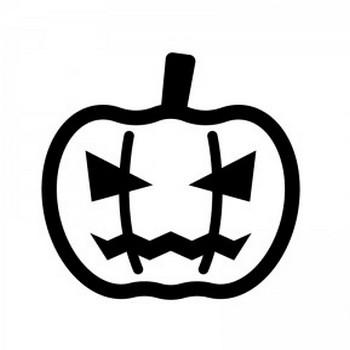 ハロウィン・かぼちゃのお化けのシルエット06 | 無料のAi・PNG白黒シルエットイラスト