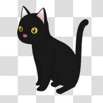 黒猫がお座りしているフリーイラスト素材