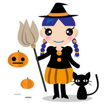 万聖節の魔女と黒猫 - フリーイラスト素材 「趣味で作ったイラストを配るサイト」