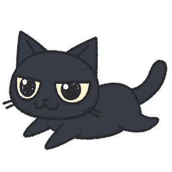手書き風の走る黒猫【無料イラスト・フリー素材】