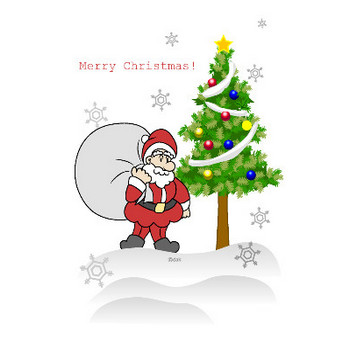 クリスマスツリーとサンタクロースの無料イラスト素材|イラストイメージ