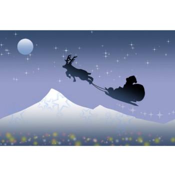 クリスマスにサンタ&トナカイが夜空を飛ぶイラスト - 無料イラストのIMT 商用OK、加工OK
