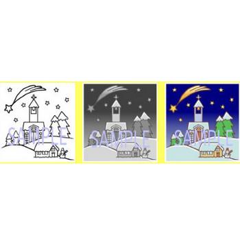 クリスマス情景1/イラスト素材/みさきのクリスマスカード(christmas card)