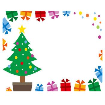 [フリーイラスト] クリスマスツリーとプレゼントの飾り枠でアハ体験 - GAHAG | 著作権フリー写真・イラスト素材集