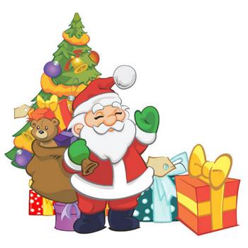 [無料イラスト] クリスマスツリーの前のサンタクロース - パブリックドメインQ:著作権フリー画像素材集
