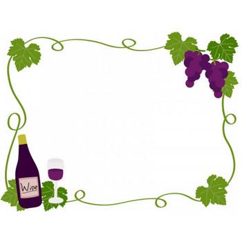 ぶどうとワインのフレーム飾り枠イラスト | 無料イラスト かわいいフリー素材集 フレームぽけっと