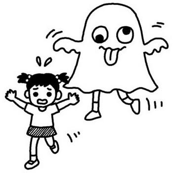 おばけ大会1/花火・おばけ大会/夏の行事/保育/無料【白黒イラスト素材】