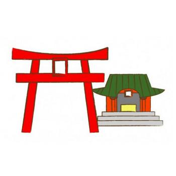 神社と鳥居・イラスト   FLAT DESIGN::