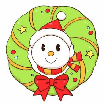 雪だるまが顔を出しているクリスマスリースのイラスト - 無料イラストのIMT 商用OK、加工OK