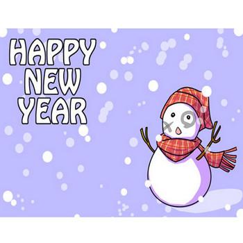 ⇒【無得よう年賀状イラスト】かわいい雪ダルマ横型